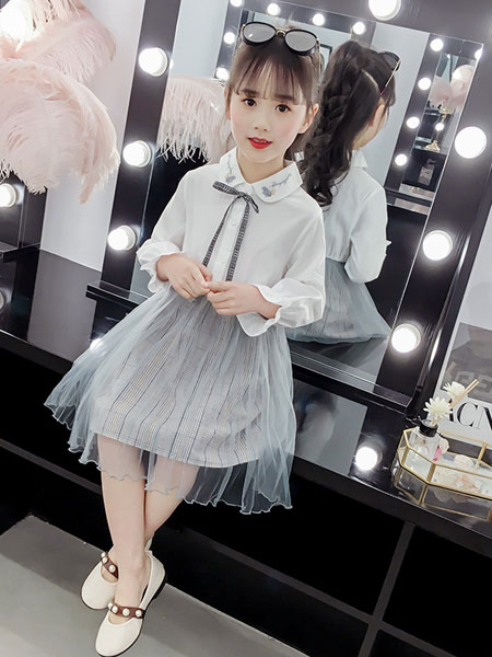 洛离童装品牌2019春夏洋气套装裙童装马甲连衣裙两件套