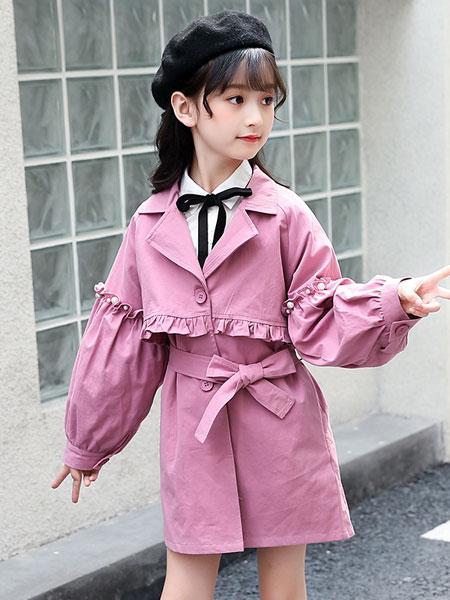 洛离童装品牌2019春夏加长版风衣腰带收腰风衣