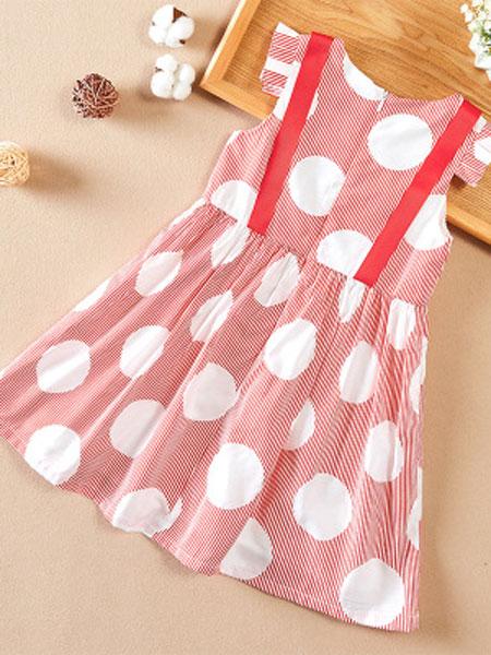 佳童宝童装品牌2019春夏短袖假两件背带条纹连衣裙波点短袖童裙