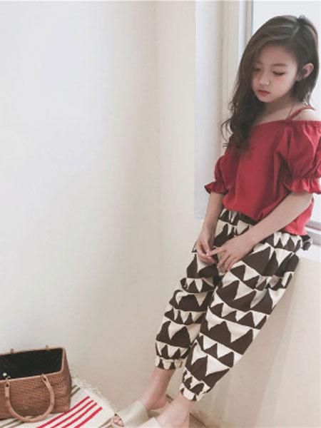 李纯童装品牌2019春夏韩版棉麻三角防蚊裤