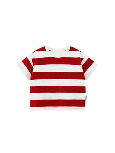 糖狮嘟嘟童装品牌2019春夏短袖条纹圆领百搭潮范竹节棉童T恤