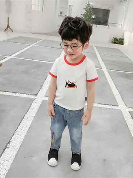糖狮嘟嘟童装品牌2019春夏卡通可爱短袖圆领T恤