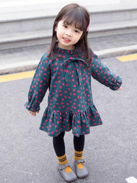 皮鲁天使童装品牌2019春夏小清新休闲连衣裙