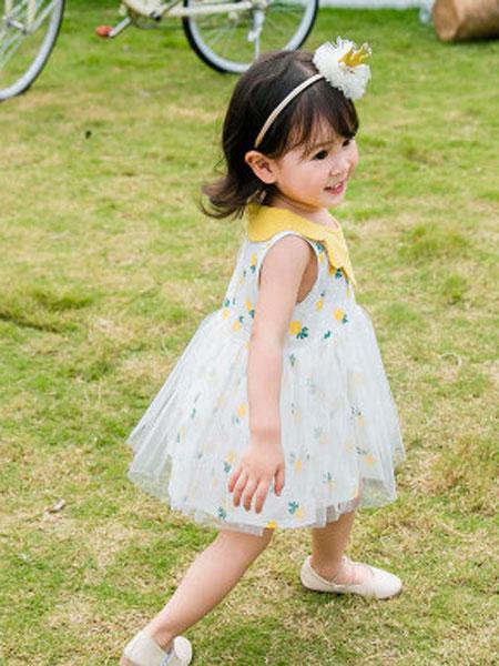 皮鲁天使童装品牌2019春夏无袖洋气连衣裙