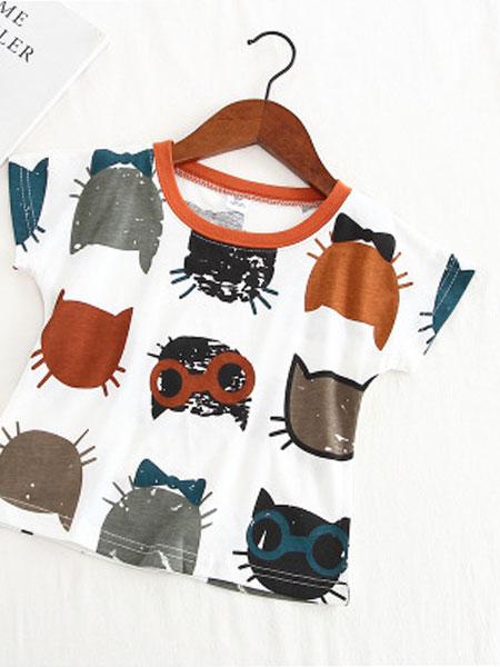 豆咔布咔D.K.B.K童装品牌2019春夏百搭圆领满印卡通猫咪做旧T恤