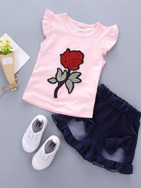 背背酷拉童装品牌2019春夏纯棉短袖两件套
