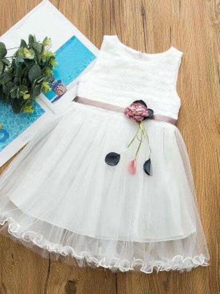 背背酷拉童装品牌2019春夏纯色花朵纱裙刺绣网纱连衣裙