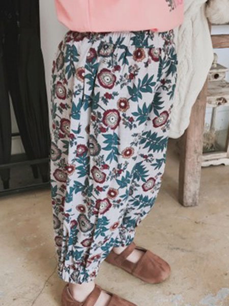 TREEBIBI童装品牌2019春季3色花型防蚊裤
