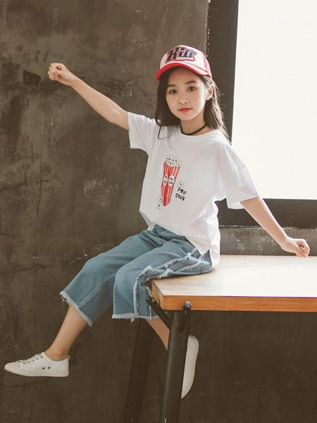 honeecool童装品牌2019春夏髦洋气牛仔阔腿裤两件套