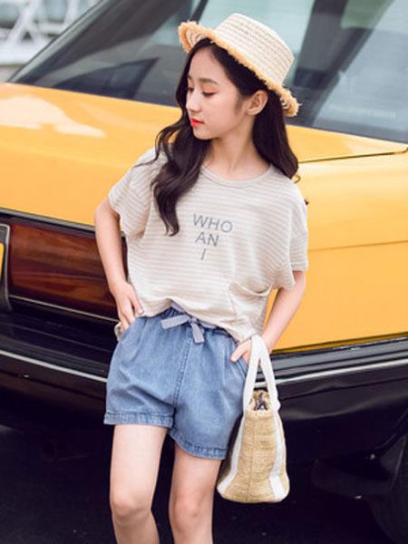 honeecool童装品牌2019春夏女童牛仔两件套