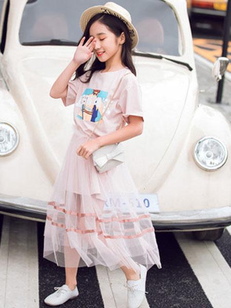 honeecool童装品牌2019春夏短袖棉麻上衣网纱腰裙两件套