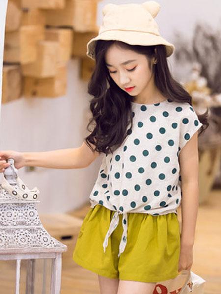 honeecool童装品牌2019春夏洋气时髦短裤两件套