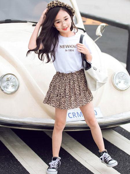 honeecool童装品牌2019春夏韩版豹纹两件套装