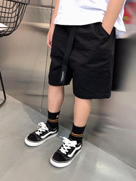 田田猴童装品牌2019春夏港风宝宝短裤黑色中大童五分裤