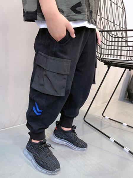 田田猴童装品牌2019春夏束脚裤港风工装裤