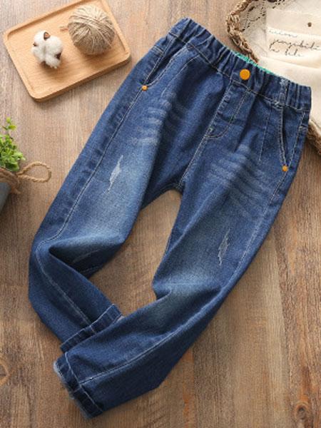 嘉新威日童装品牌2019春夏纯色针织牛仔裤