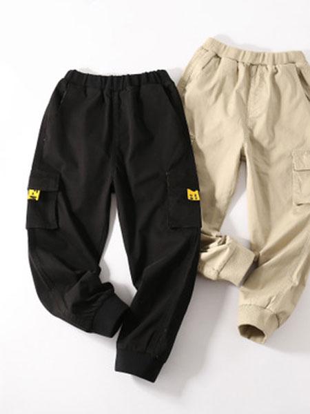 嘉新威日童装品牌2019春夏大口袋长裤缩口军工裤