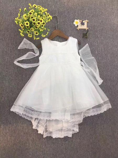 品牌童装巴拉巴拉童装品牌2019春夏无袖蕾丝时尚连衣裙