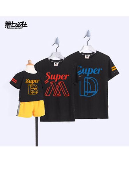 第七公社情侣亲子2019春夏一家三口短袖t恤