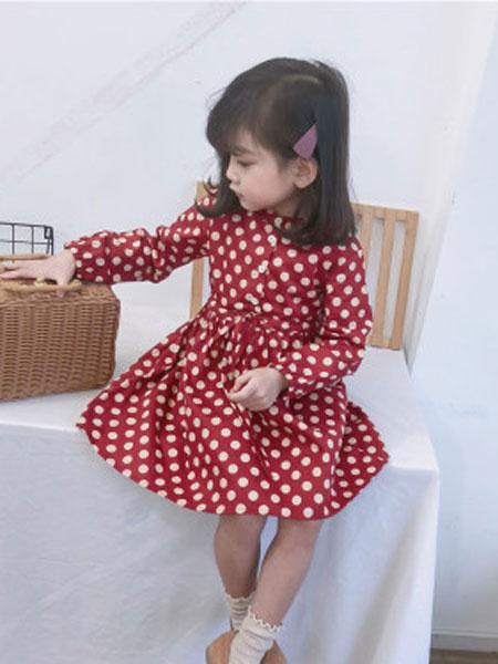 品诺童装品牌2019春夏波点长袖连衣裙