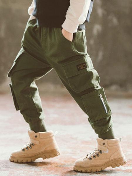 浩恩童装品牌2019春夏纯色大口袋工装裤
