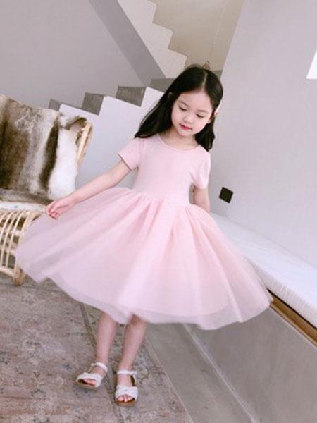 Sumcico童装品牌2019春夏芭蕾舞网纱连衣裙蓬蓬纱裙