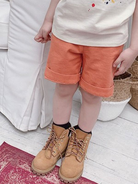 Sumcico童装品牌2019春夏橘色全棉牛仔短裤