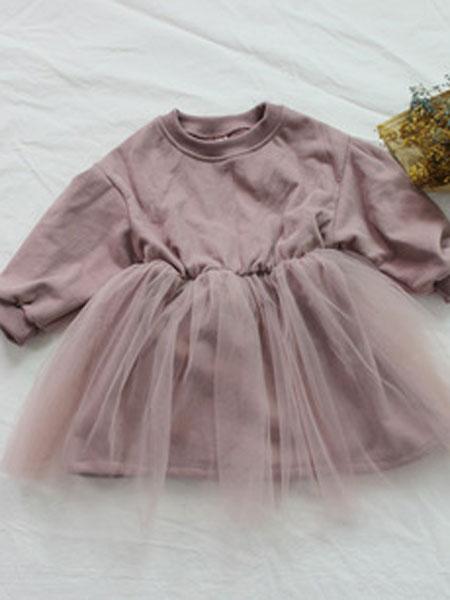 森林地图童装品牌2019春夏韩板女童卫衣连身裙纱