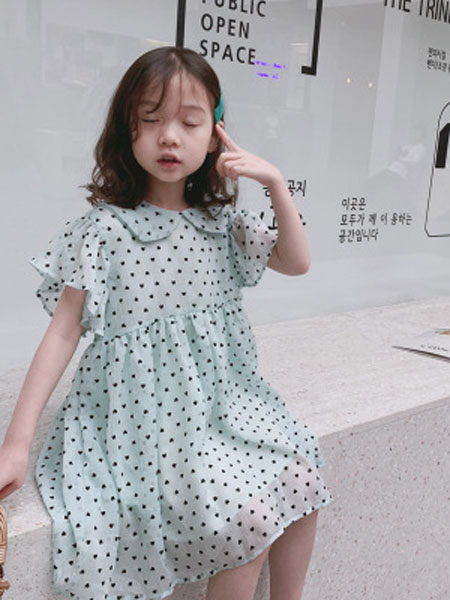 俊灵童装品牌2019春夏爱心雪纺A字裙连衣裙