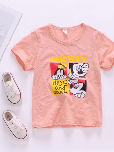艾嘉思童装品牌2019春夏纯棉卡通图案短袖T恤