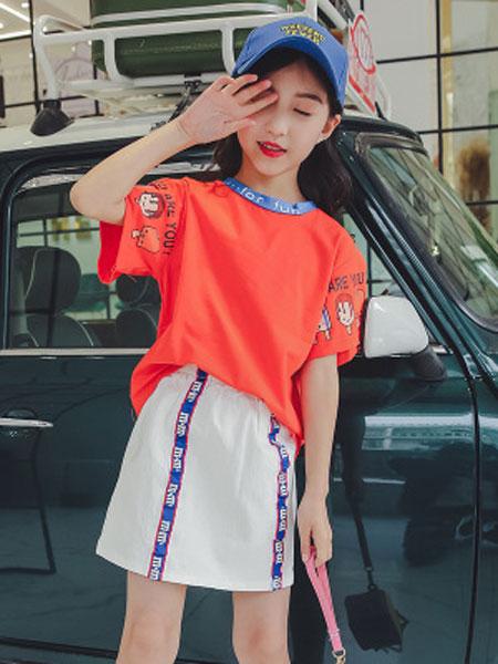 嘟啦梦童装品牌2019春夏袖子卡通小人三色短袖上衣