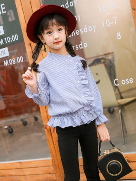 sPirit/菲童装品牌2019春夏荷叶边条纹娃娃袖衬衣