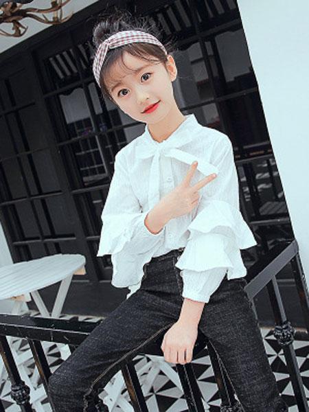 sPirit/菲童装品牌2019春夏荷叶边袖衬衫