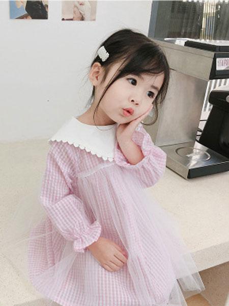 蒋歌童装品牌2019春夏格子网纱连衣裙公主裙
