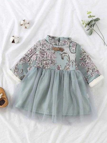 图图我童装品牌2019春夏中国风唐装民族风公主裙