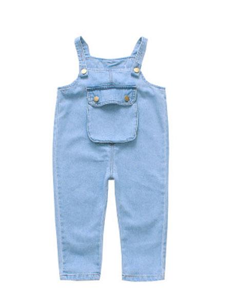 图图我童装品牌2019春夏牛仔背带裤洋气