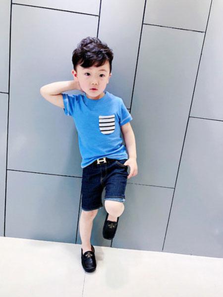 速酷童装品牌2019春夏圆领短袖宝宝纯色牛仔短裤潮
