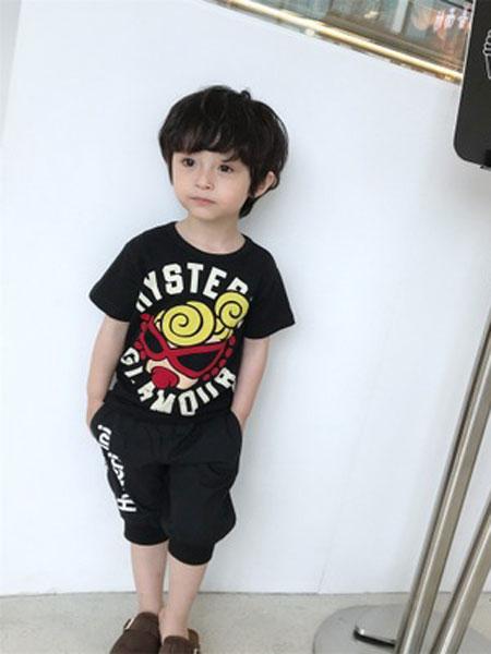 聚佰汇童装品牌2019春夏日系卡通短袖T恤