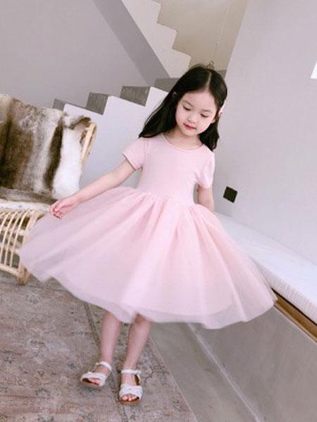 西柯童装品牌2019春夏芭蕾舞网纱连衣裙蓬蓬纱裙