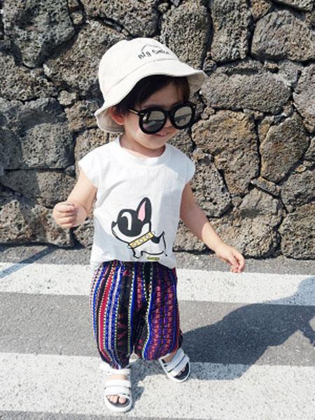 菲首童屋童装品牌2019春夏儿童防蚊裤无袖背心宝宝灯笼热裤两件套
