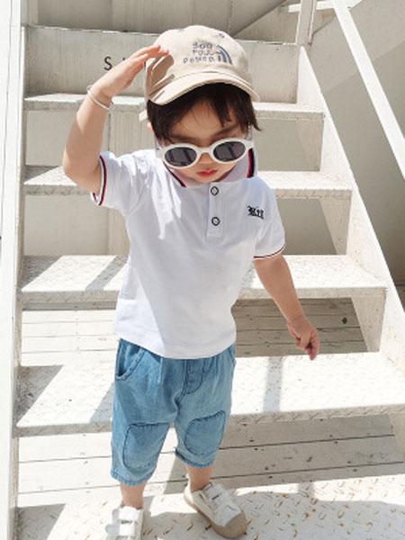 菲首童屋童装品牌2019春夏儿童polo衫宝宝衬衫牛仔短裤两件套