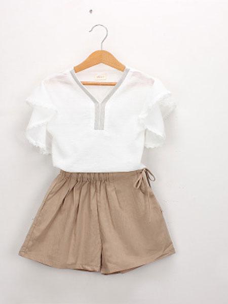 Hurave童装品牌2019春夏短袖绣花衬衫裤子套装