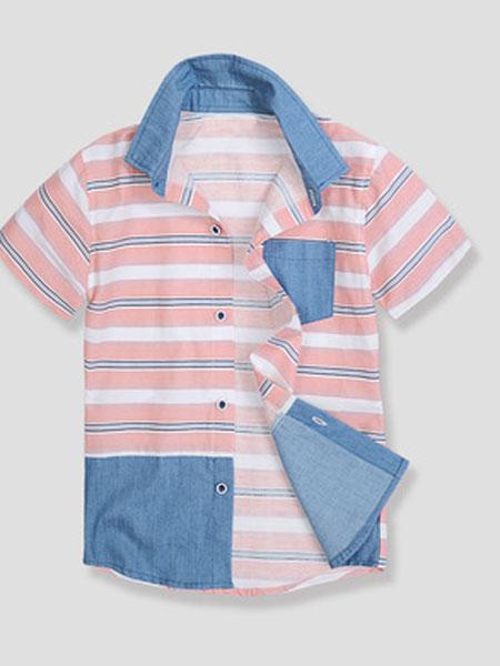 浦恒童装品牌2019春夏条纹衬衫短袖
