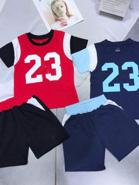 勤诺童装品牌2019春夏字母数字拼色印花中小童套装
