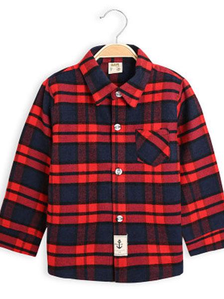 柏涵童装品牌2019春夏格子休闲织带款长袖衬衫