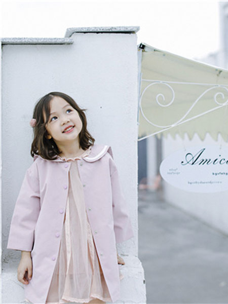 米可朵儿童装品牌2019春夏粉色中长外套