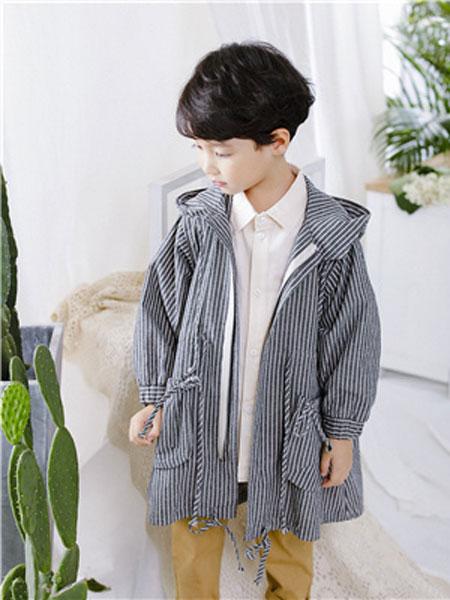米可朵儿童装品牌2019春夏条纹带帽外套