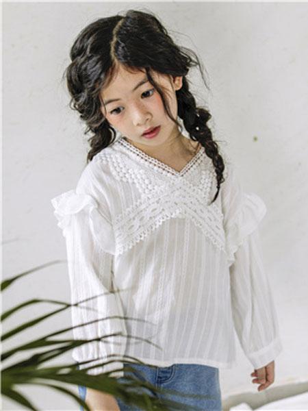 米可朵儿童装品牌2019春夏白色蕾丝衬衫