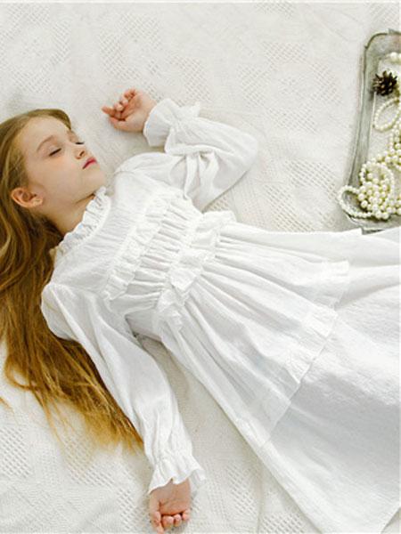 米可朵儿童装品牌2019春夏白色蕾丝连衣裙
