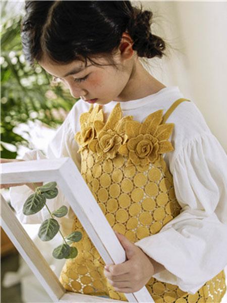米可朵儿童装品牌2019春夏黄色吊带两件套